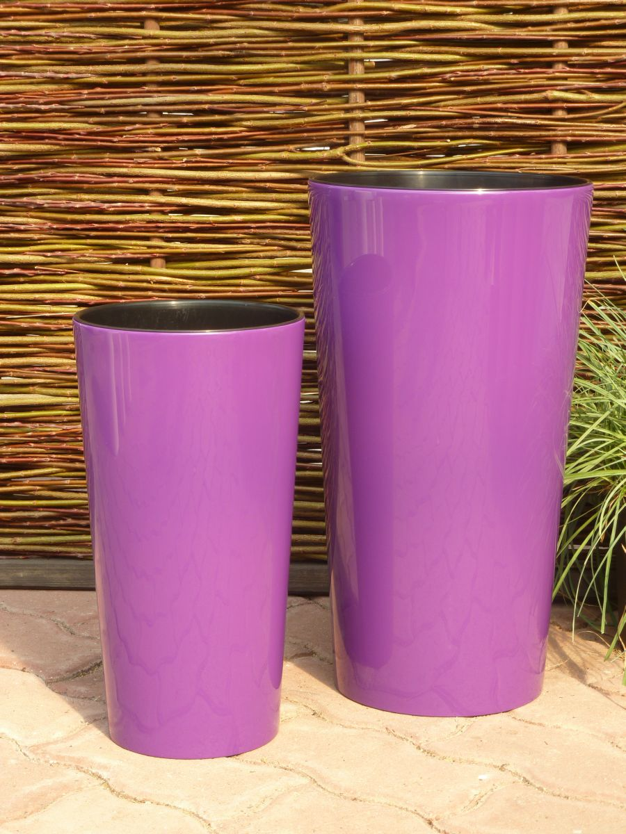pflanzk bel hochglanz mit einsatz kunststoff lila rund. Black Bedroom Furniture Sets. Home Design Ideas