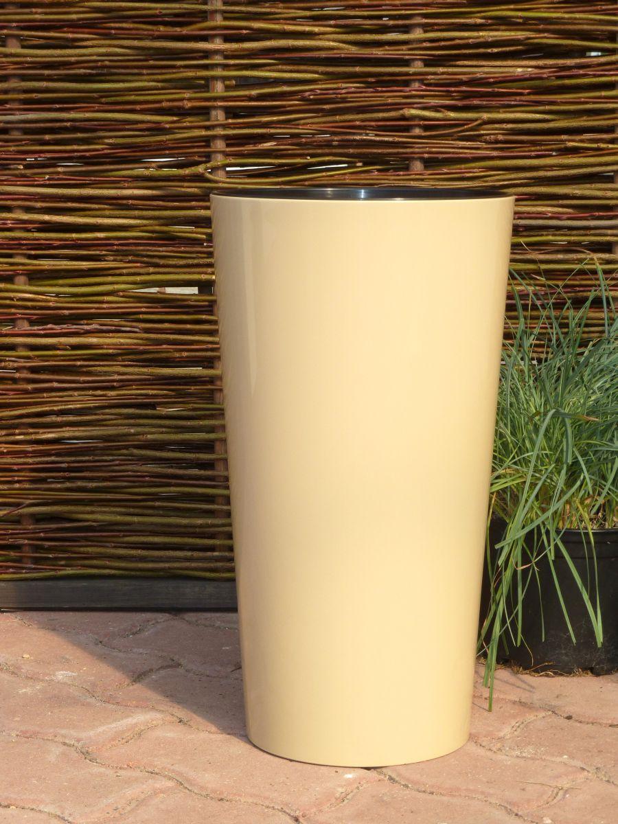 pflanzk bel hochglanz mit einsatz kunststoff taupe rund. Black Bedroom Furniture Sets. Home Design Ideas