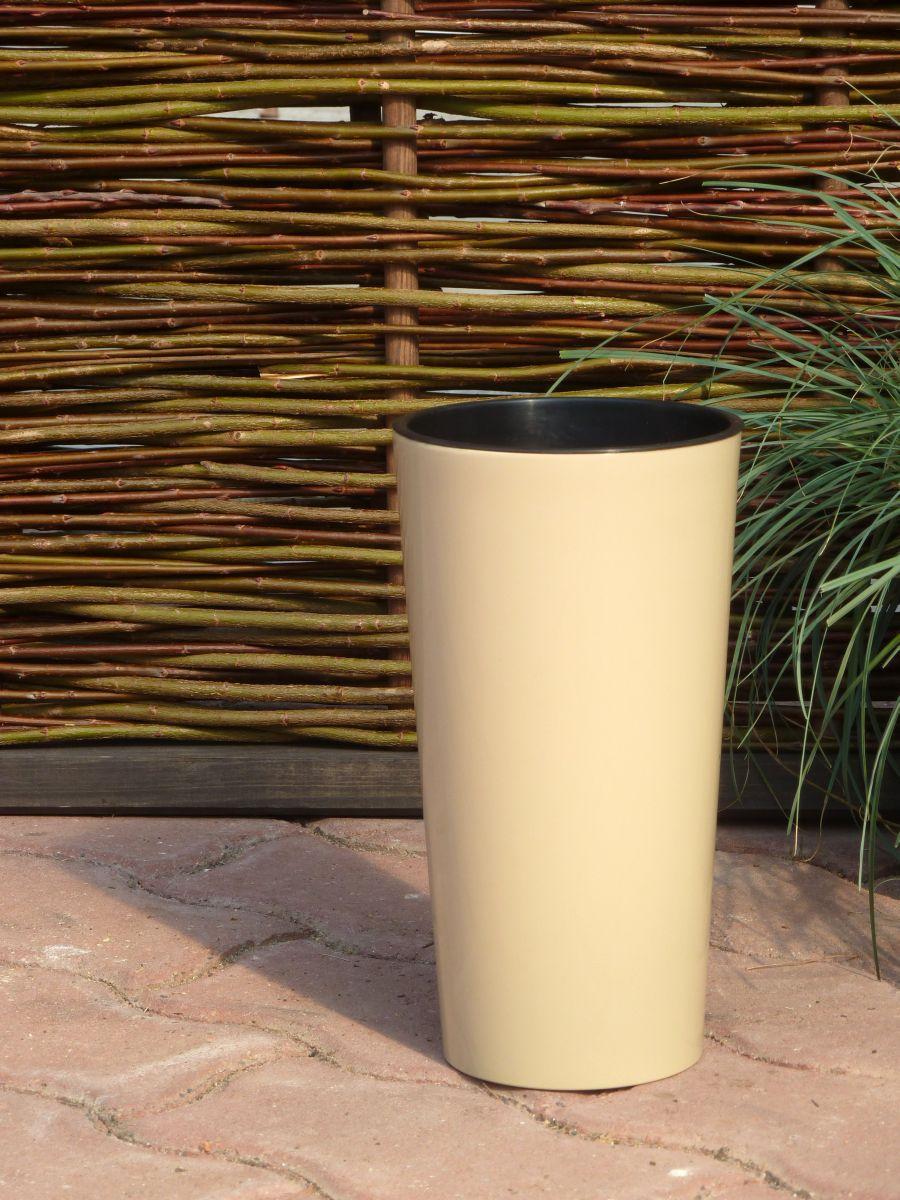pflanzk bel hochglanz mit einsatz kunststoff taupe rund konisch blumenk bel ebay. Black Bedroom Furniture Sets. Home Design Ideas