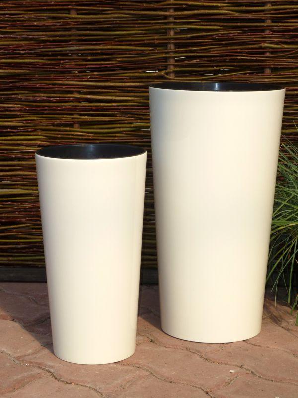 Pflanzkuebel-HOCHGLANZ-mit-Einsatz-Kunststoff-WEISS-rund-konisch-Blumenkuebel